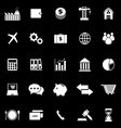 Economy icons on black background vector image vector image