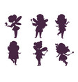 fairies princess silhouette fairy girl vector image