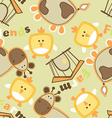 Farm friends with cow and bird seamless pattern vector image