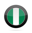 flag of nigeria shiny black round button vector image vector image
