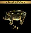 golden and royal hand drawn emblem of farm pork vector image vector image