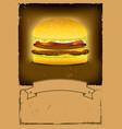 grunge burger fast food banner vector image