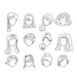 Hairstyle silhouette set woman girl female hair
