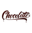 hand drawn lettering chocokate elegant modern vector image