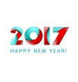 Happy new year 2017 text design blue and red vector image
