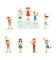 happy young children holding their golden trophies vector image vector image