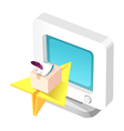 icon computer monitor and paper airplane vector image vector image