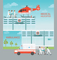 info graphic of medical emergency chopper vector image vector image
