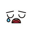 kawaii cute face expression eyes and mouth cry sad vector image vector image