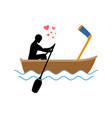 lover hockey guy and hockey stick ride in boat vector image vector image