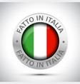 made in italy flag metal icon vector image vector image