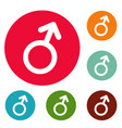 male gender symbol icons circle set vector image vector image