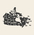 map canada poster map provinces and vector image vector image