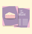 menu card with slice cake vector image vector image