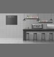 modern cafe coffee shop realistic interior vector image vector image