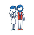 mom and dad holding baby together family image vector image vector image
