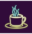 Neon coffee mug design vector image