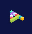 number 4 isometric colorful cubes 3d design