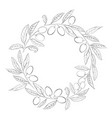 round wreath of olives branch in black and white vector image