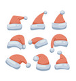 santa red hats set christmas funny caps vector image