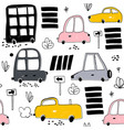 seamless pattern with hand drawn cute car cartoon vector image