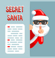 secret santa claus peeking out corner cartoon vector image