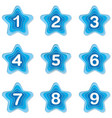 set blue star bullet points 1 to 9 vector image