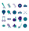 sport icon signs and symbols blue set vector image vector image