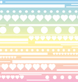 Stripes hearts and circle pattern rainbow pastel b vector image vector image