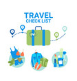 travel planning baggage check list icons template vector image