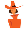 woman in orange winter clothes or color vector image