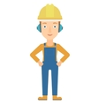 Woman wearing hard hat and headphones vector image
