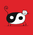 yin and yang cat sketch for your design vector image vector image