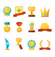 hanging medals glass awards gold cups and crowns vector image