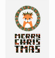 avatar cute fox with a christmas wreath vector image vector image