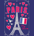banner with parisian eiffel tower and flag vector image vector image