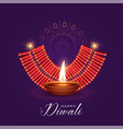 burning diya and cracker for diwali festival vector image vector image