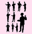 chef waiter waitress silhouette vector image