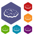 cloud icons set hexagon vector image vector image