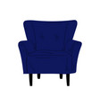 comfortable blue armchair cushioned furniture vector image vector image