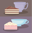 cups with slices of sweet cake vector image vector image