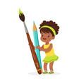 cute black little girl holding giant light blue vector image vector image
