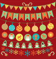 cute bunting and garland decoration set vector image vector image