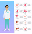 doctor in in medical uniform human internal vector image vector image