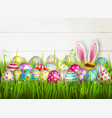 easter eggs grass composition vector image vector image