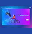 extreme sport activity banner biker and motobiker vector image vector image