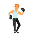 fit man with dumbbells does exercises isolated vector image vector image