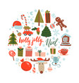 flat color doodle christmas design elements vector image