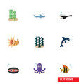 flat icon marine set of tentacle playful fish vector image vector image