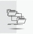 folder file management move copy line icon on vector image vector image